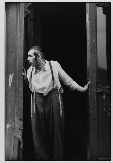 Hasidic Man at Door, Williamsburg, Brooklyn, NYC, 1954 by Leonard Freed