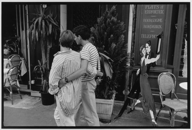 Couple in striped shirts, Paris, France, 1985 by Leonard Freed