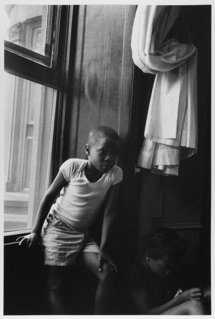 Boy at Window, Sister in shadow, Brooklyn, NY, 1963 by Leonard Freed