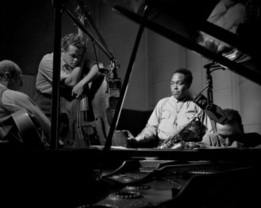 Billy Bauer, Charlie Parker, Eddie Safranski, Lennie Tristano, New York , 1949 by Herman Leonard