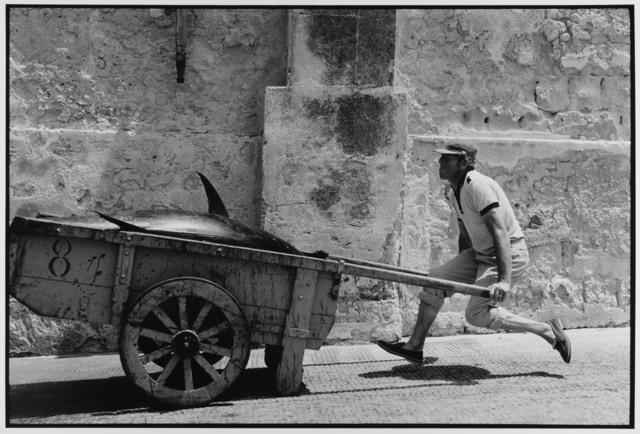 Fish Monger levitates Trapani, Sicily, 1975 by Leonard Freed
