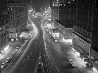 The Great White Way / Times Square at Night, Darkens Lights under Army Air-raid Regulations, Times Square looking north, 4/29/1942 by Nat Fein
