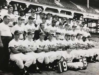 World Champion Brooklyn Dodgers / Side View, 1955 by Nat Fein