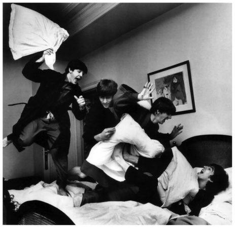 Beatles Pillow Fight, George V Hotel, Paris, 1964 by Harry Benson