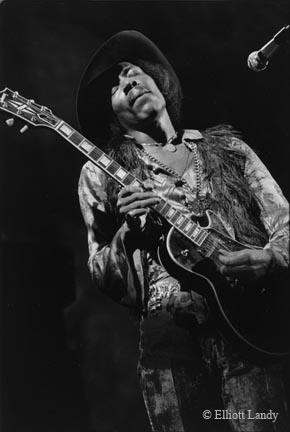 Jimi Hendrix, playing Gibson Les Paul model guitar Fillmore East, NYC, 1968 by Eliott Landy