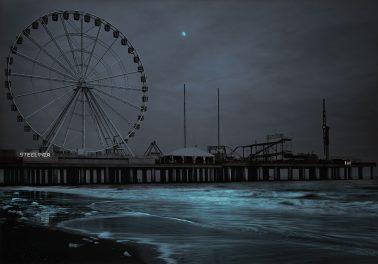 Steel Pier Moonrise, Atlantic City, NJ, 2020 by Michael Massaia