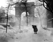 Washington Square Snow Scene 12/26/1947 by Nat Fein