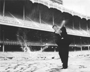 Mickey Mantle Smashes Snowball, 1957 by Nat Fein