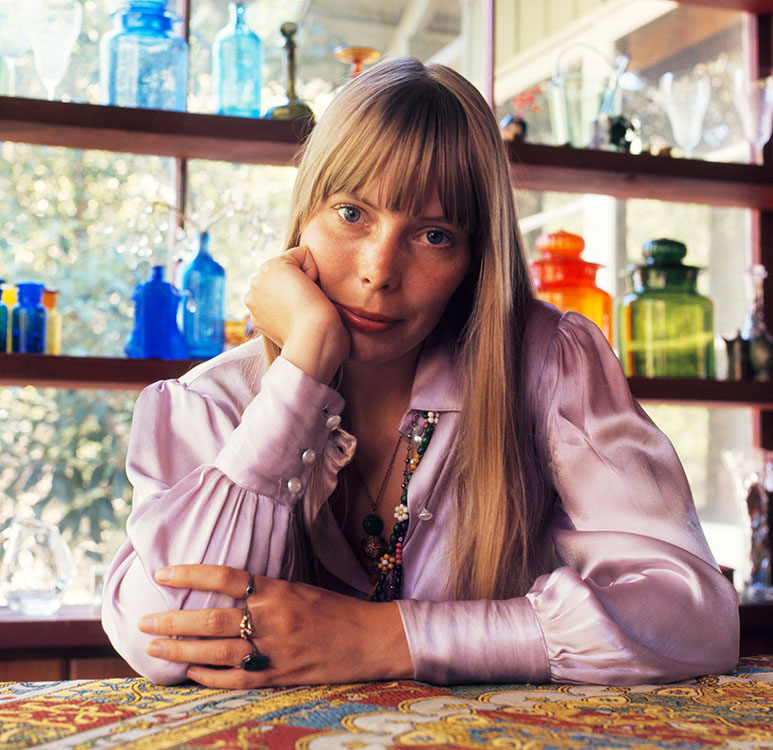 Canadian singer and songwriter Joni Mitchell at her home in Laurel Canyon, Los Angeles, August 1968. Image by Baron Wolman