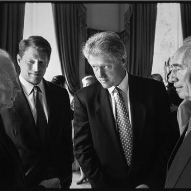 Rabin, Gore, Clinton and Shamir at White House, Mid East Peace Treaty Signing, 9/93, 1993 by Robert McNeely