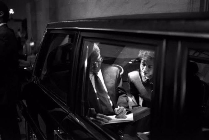 Bill and Hillary Clinton in Limo before the President's address on Health Care Bill to Joint Session of Congress, 1993 by Robert McNeely