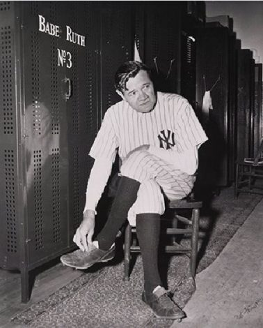 Babe Ruth in the locker room, 1948 by Nat Fein