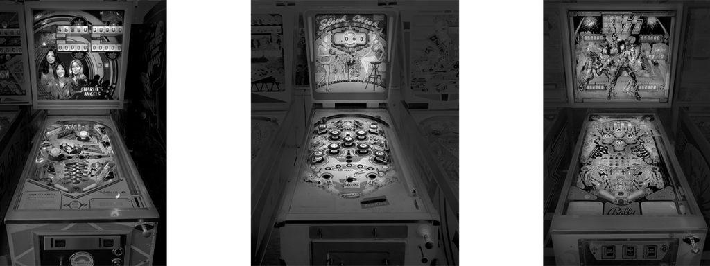 Three Vintage Pinball Machines