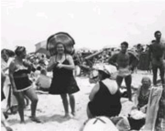 Coney Island Lady with Hat 6/4/1950 by Nat Fein