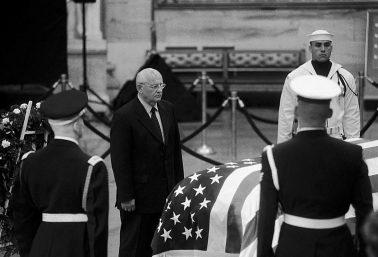 Mikhail Gorbachev at Ronald Reagan's Memorial, US Capitol, Washington DC, 2004 by Phil McAuliffe